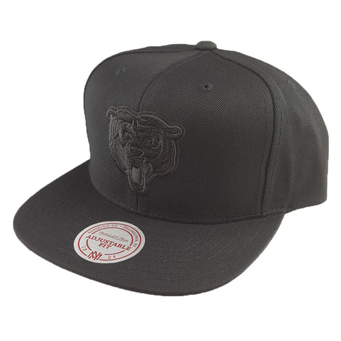 Mitchell & Ness - Flat Peak Embroided Black Tonal Logo - Chicago Bears