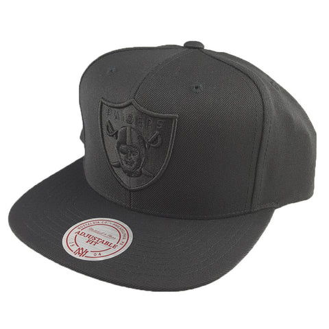 Mitchell & Ness - Flat Peak Embroided Black Tonal Logo - Oakland Raiders