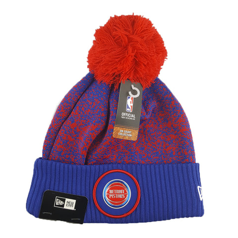 New Era - Official NBA On-Court Collection Pom Cuff Knit - Detroit Pistons
