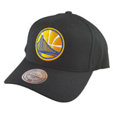 Mitchell & Ness - Black & Team Colour Logo 110 Pinch Panel Snapback - Golden State Warriors
