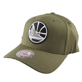 Mitchell & Ness - Black & White Logo 110 Pinch Panel Olive Snapback - Golden State Warriors