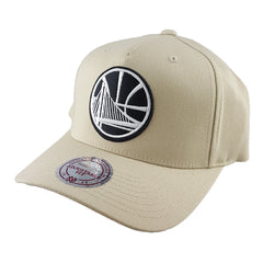 Mitchell & Ness - Black & White Logo 110 Pinch Panel Tan Snapback - Golden State Warriors