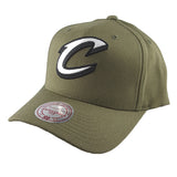 Mitchell & Ness - Black & White Logo 110 Pinch Panel Olive Snapback - Cleveland Cavaliers