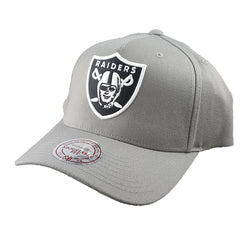 Mitchell & Ness - Black & White Logo 110 Pinch Panel Grey Snapback - Oakland Raiders