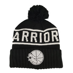 Mitchell & Ness - Black & White Logo High 5 Bobble Knit Beanie - Golden State Warriors - Cap City