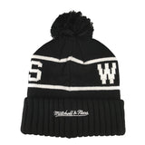 Mitchell & Ness - Black & White Logo High 5 Bobble Knit Beanie - Golden State Warriors