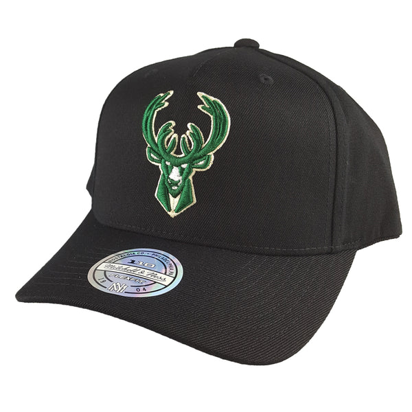 Mitchell & Ness - Black & Team Colour Logo 110 Pinch Panel Snapback - Milwaukee Bucks