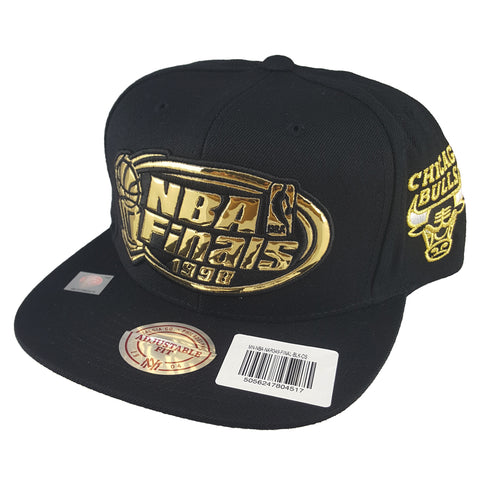 Mitchell & Ness - Mist Gold '97 - '98 6 Rings Collection Black Snapback - Chicago Bulls