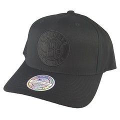 save off 4620c 3d532 Mitchell   Ness - All Black Logo 110 Pinch Panel Snapback - Brooklyn Nets  ...