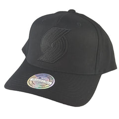 size 40 affb8 1928f Mitchell   Ness - All Black Logo 110 Pinch Panel Snapback - Portland Trail  Blazers ...