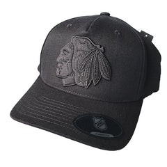 NHL Black on Black Logo Pinch 110 Snapback - Chicago Blackhawks