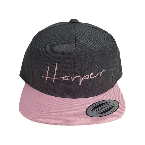 Custom Snapback (Youth) - Charcoal / Pink