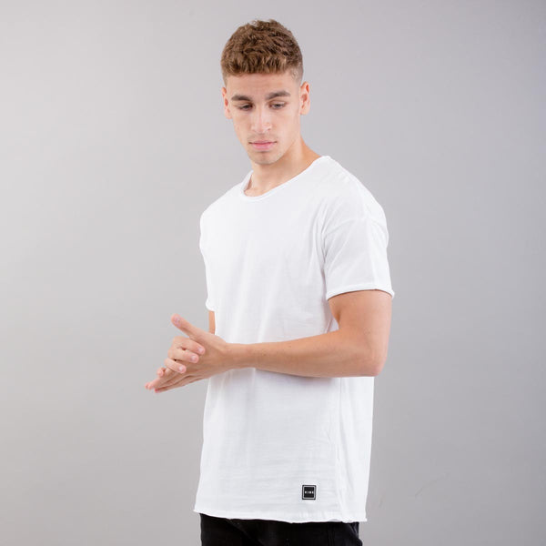 King Apparel - Earlham Raw Edge Drop Shoulder T-Shirt - White