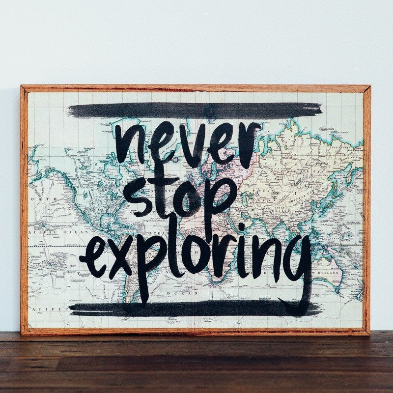 Never Stop Exploring - Framed Stone Tile