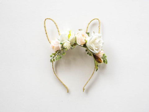 White and Apricot Small Floral Headband