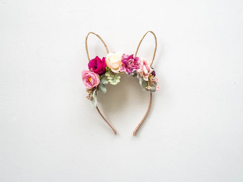 floral headband with boho bunny ears