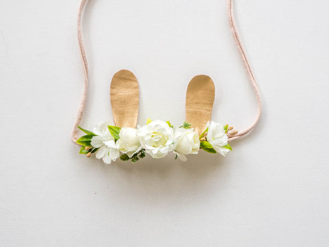 White Floral Bunny Ears Wrap