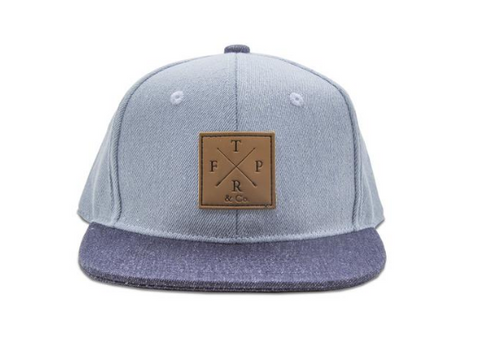 light denim and dark denim kids snapback