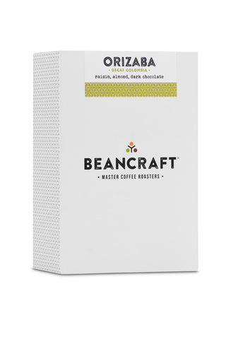 Boxed specialty coffee, 200g. Chemical free decaf blend.