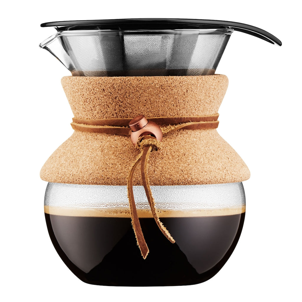 A glass pourover set by Bodum, featuring a cork neck cuff and leather tie. Holds 4 cups of filter coffee