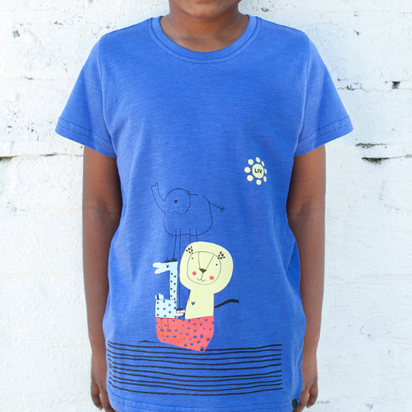 S/S Crew Neck Tee, New Blue, 100% Cotton Slub Pre Boys