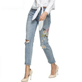Distressed Flower Power Jeans