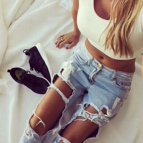 Distressed Slim Denim Jeans