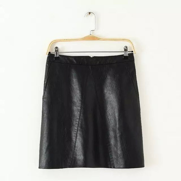 Faux Leather Skirt With Pocket
