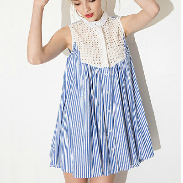 Blue and White Laced Dress