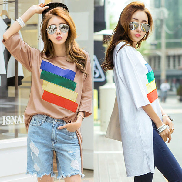 Colorful Pullover Shirt Dress
