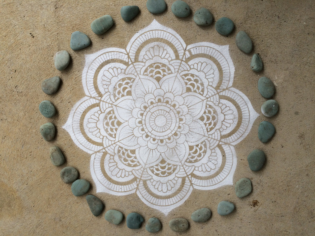 8 great tips for how to use Yogini Mandala stencils outdoors on floors, decks and concrete