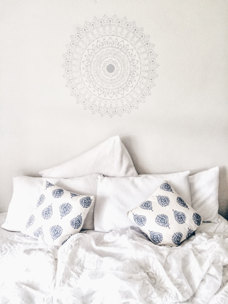 How to use the Yogini Abundance Mandala stencil on bedroom wall