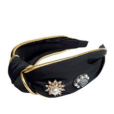 Jeweled Knotted Headband in Black