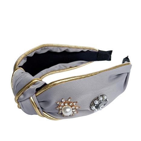Jeweled Knotted Headband in Grey