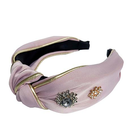 Jeweled Knotted Headband in Pink