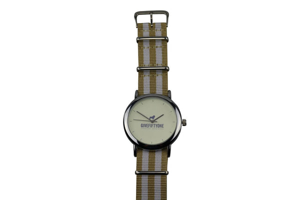 DOUBLE BEIGE & WHITE STRIPED COAST TO COAST WATCH