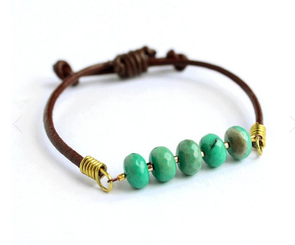 LAVISHED LEATHER GEMSTONE BRACELET