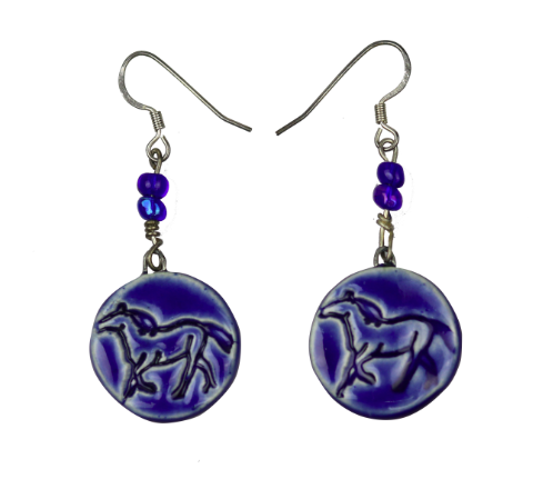 BLUE HANDCRAFTED STONEWARE CLAY EARRINGS