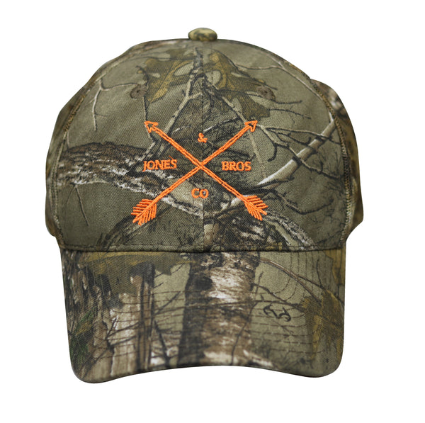 Jones Bros & Co Camo with Orange Lettering Hat