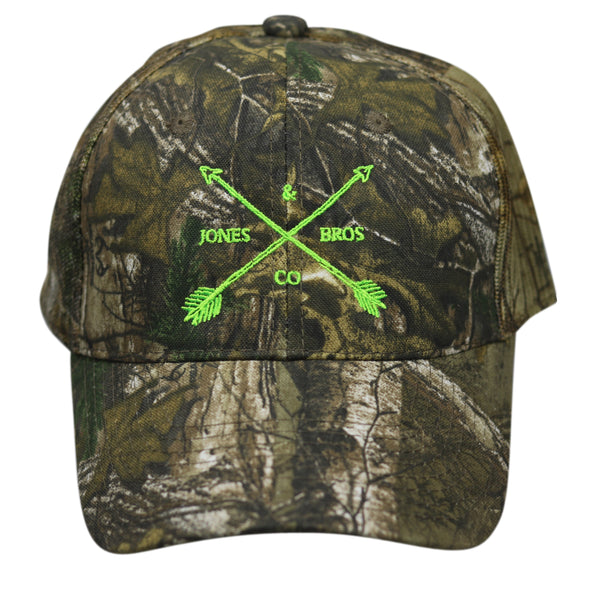 Jones Bros & Co Camo with Green Lettering Hat