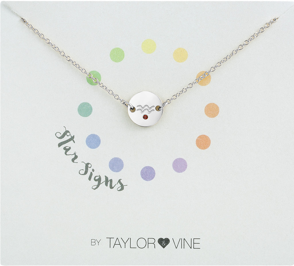 Taylor and Vine Star Signs Aquarius Silver Bracelet with Birth Stone
