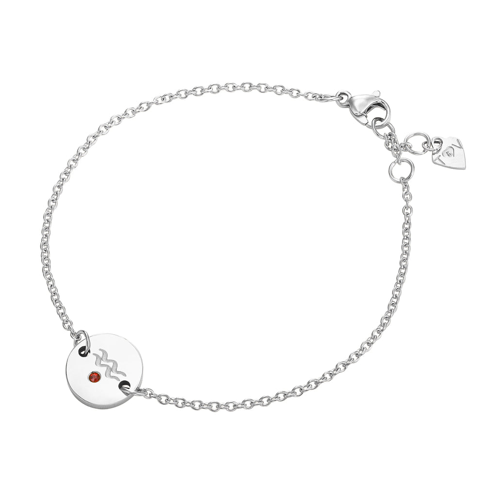 Taylor and Vine Star Signs Aquarius Silver Bracelet with Birth Stone 2