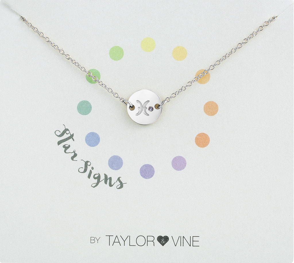 Taylor and Vine Star Signs Pisces Silver Bracelet with Birth Stone