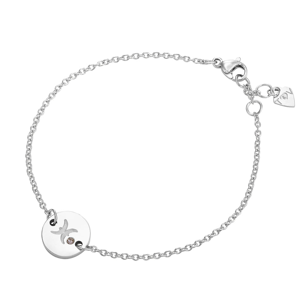 Taylor and Vine Star Signs Pisces Silver Bracelet with Birth Stone 1