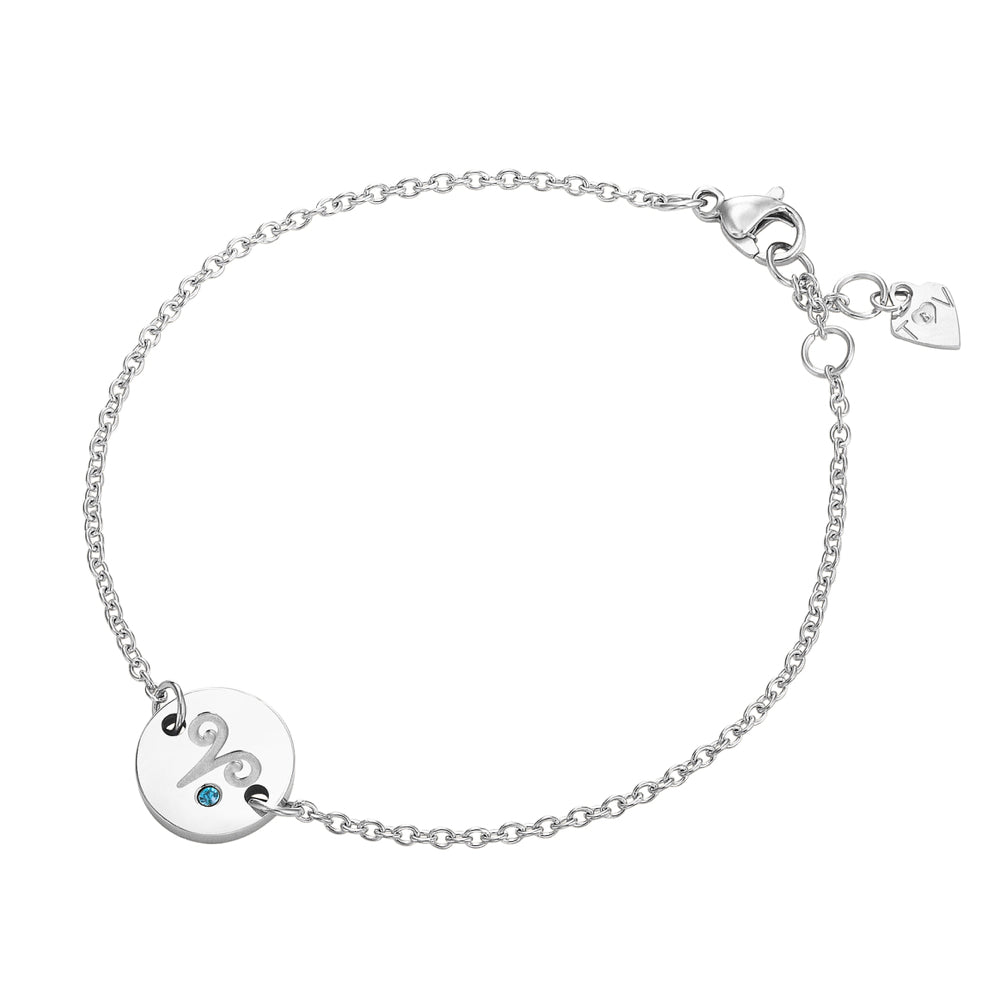 Taylor and Vine Star Signs Aries Silver Bracelet with Birth Stone 1