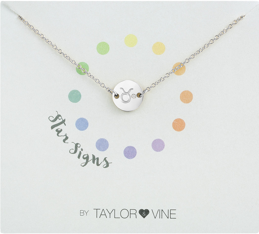 Taylor and Vine Star Signs Taurus Silver Bracelet with Birth Stone