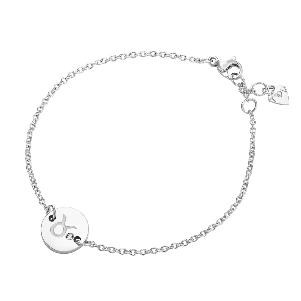 Taylor and Vine Star Signs Taurus Silver Bracelet with Birth Stone 1