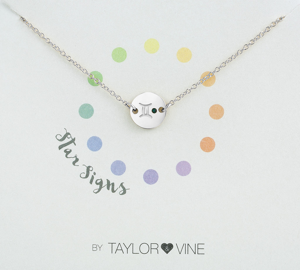 Taylor and Vine Star Signs Gemini Silver Bracelet with Birth Stone