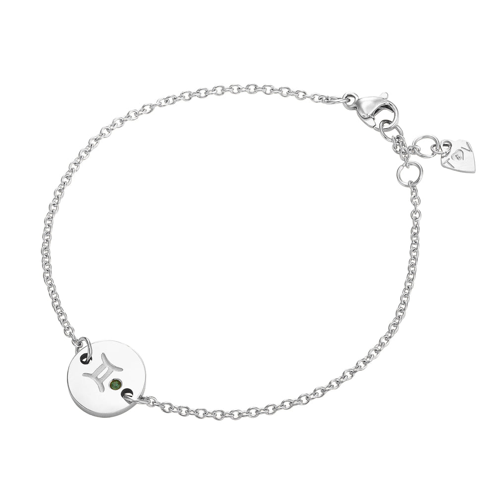 Taylor and Vine Star Signs Gemini Silver Bracelet with Birth Stone 1