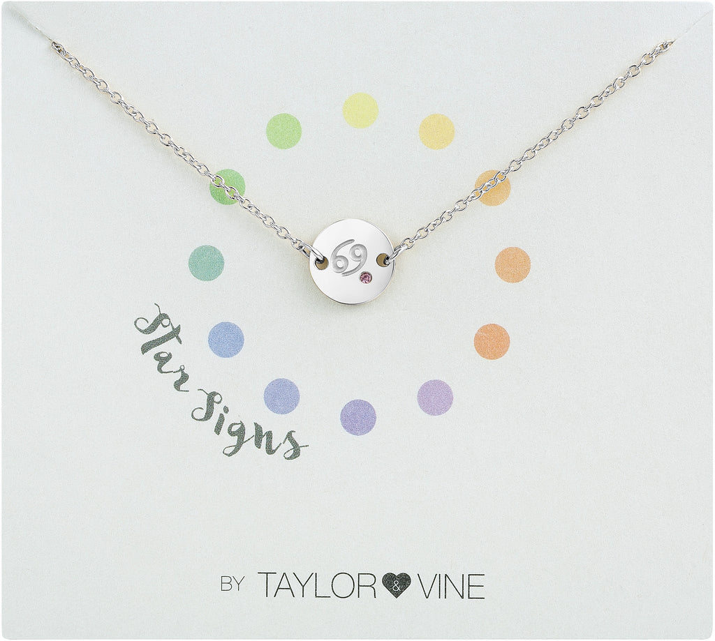 Taylor and Vine Star Signs Cancer Silver Bracelet with Birth Stone